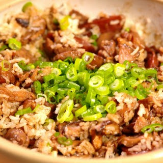 Clay Pot Chicken with Shiitake Mushrooms and Chinese Sausage.