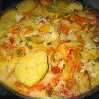 Vegetables Baked With Sour Cream.