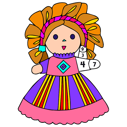 Dolls Color by Number - Girls Coloring Book Pages Icon