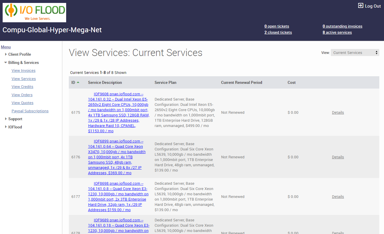 Ubersmith services page