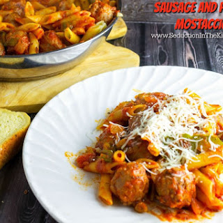 Sausage and Peppers Mostaccioli.