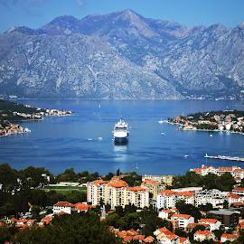Kotor by Mladjan Pajkic - Landscapes Travel ( mountain, cove, kotor, cityscape, boat )