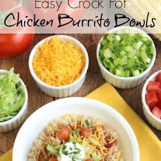 Easy Crock Pot Chicken Burrito Bowls.
