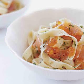 Pasta with Salmon Caviar.