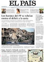 Photo: Los barones del PP se rebelan contra el déficit a la carta; la guerra siria se hunde en la barbarie; Rajoy, Merkel y Hollande movilizan 60.000 millones contra el paro juvenil, en la portada de EL PAÍS, edición nacional, del miércoles 15 de mayo de 2013http://cort.as/437L