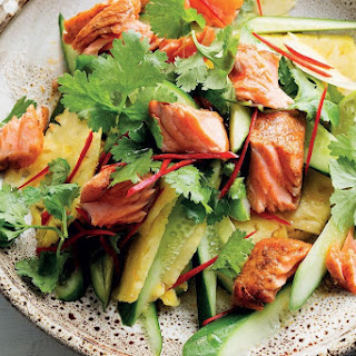 Valli Little's Cajun ocean trout with pineapple salad.