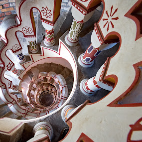 Spiral staircase by Péter Mocsonoky - Buildings & Architecture Architectural Detail ( curve, climb, interior, old, rotate, swirl, indoors, stone, round, circle, architecture, maze, infinity, circular, stairs, stairway, perspective, tall, abstract, stair, building, structure, art, shape, spiral, up, climbing, tower, red, pattern, staircase, background, handrail, high, design, step )
