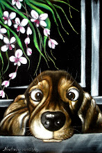 Photo: 412, Нетронина Наталья, Домашний любимец -Хозяин, а где моя косточка, Масло, замша (живопись по бархату), 38х250см,