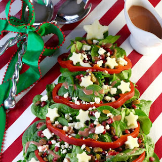 Christmas Tree Salad + Cranberry Vinaigrette Dressing - Holiday Party Entertaining