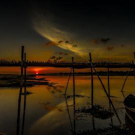 Lonely Pedestrian by Jyotirmoy Mitra - Landscapes Sunsets & Sunrises ( sunset, evening, last light )