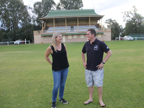 Narrabri Shire Youth Shack volunteer Renae Tibbett and Narrabri District Cricket Association president Brendon Ward discuss the plans for this year's Town v Country charity cricket match.
