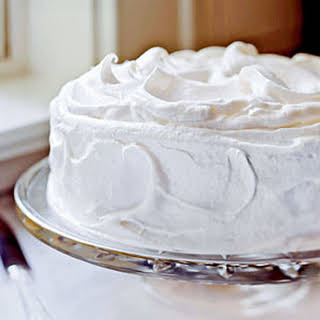 Yellow Butter Cake with Vanilla Meringue Frosting.