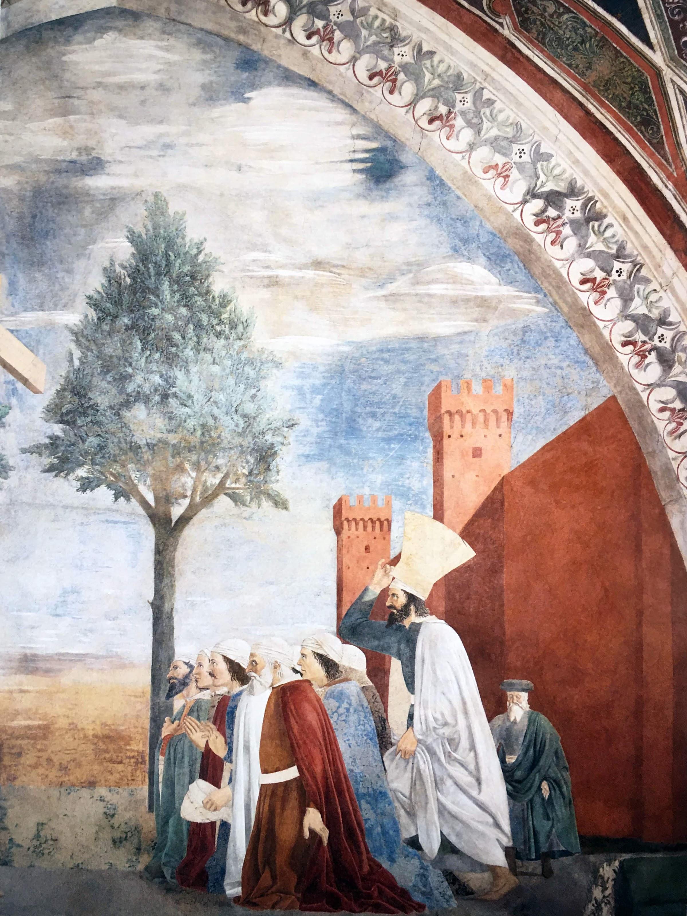 Piero della Francesca,Esaltazione della croce, (particolare di un gruppo di uomini di Gerusalemme),  Basilica di San Francesco, Arezzo