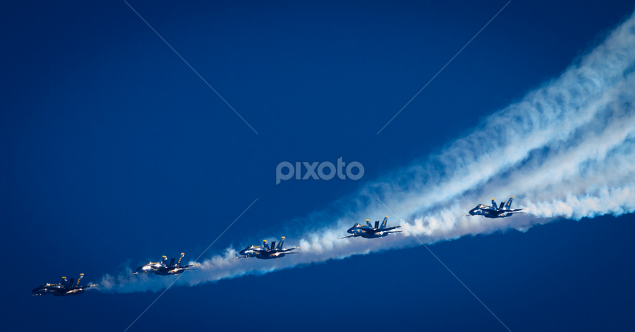 The Blue Angels by Mike Trahan - Transportation Airplanes ( contrails, blue sky, airplane, chicago air and water show, jet, the navy, blue angels )