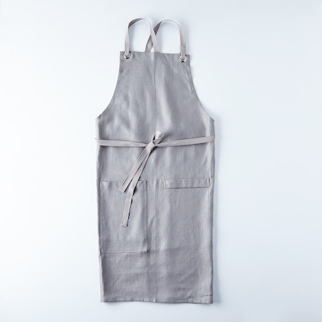 Graphite Gray Cross-Back Kitchen Apron with Graphite Gray Ties