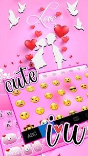 Pink Love Kiss Keyboard Theme 3