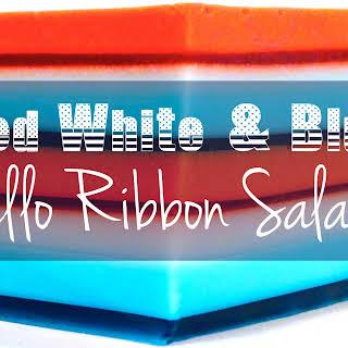 Red White & Blue Jello Ribbon Salad.