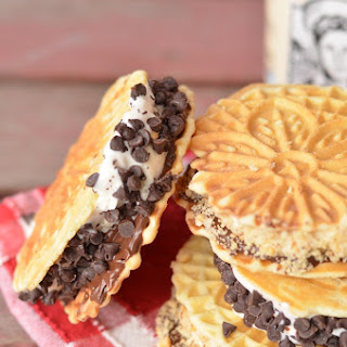 Nutella Pizzelle Ice Cream Sandwiches