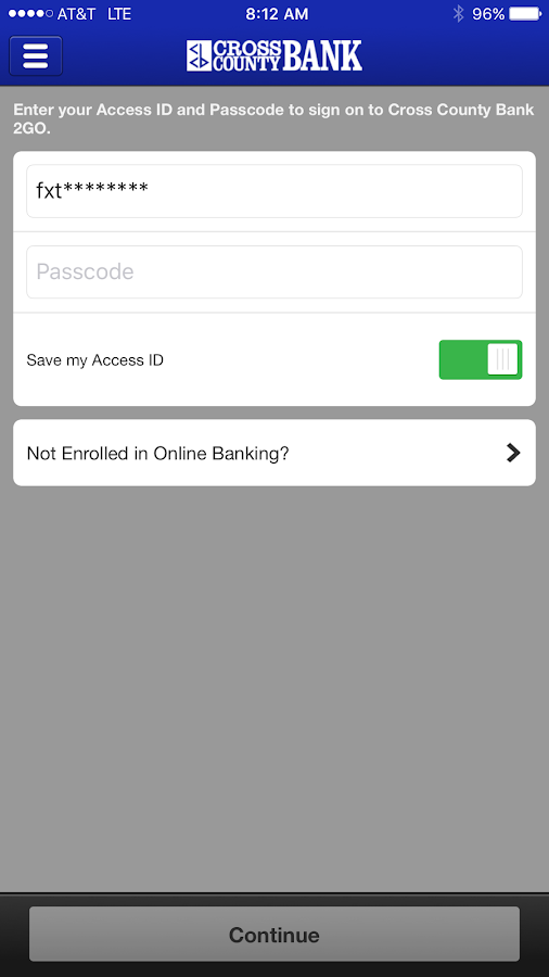 Cross County Bank 2GO- screenshot