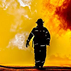 Heat by Daniel Craig Johnson - People Portraits of Men ( firefighter, flames, emergency, africa, fire )