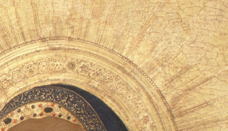 Detail of the gold tooling from the Annunciation by Simone Martini