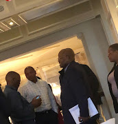 ANC secretary-general Ace Magashule, former North West premier Supra Mahumapelo, former president Jacob Zuma and ANC Women's League secretary-general Meokgo Matuba at the Maharani hotel in Durban on Thursday.