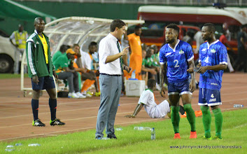 Photo: Coach McKinstry speaks with Mustapha Dumbuya and Mohamed 'Medo' Kamara   [Leone Stars v Ivory Coast, 6 September 2014 (Pic © Darren McKinstry / www.johnnymckinstry.com)]
