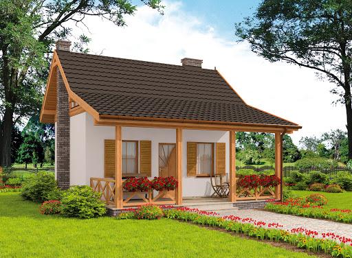projekt Bari dom letniskowy z poddaszem szkielet drewniany