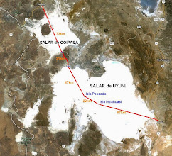 Photo: Map of the planned Route. Started in Sabaya (North) and finish in Uyuni (South East) Total estimated distance 250km. Distance done (linked GPS points) = 165km. Stopped at Isla Incahuasi. 87km to go. Next attempt ? 2016? 2017 ?