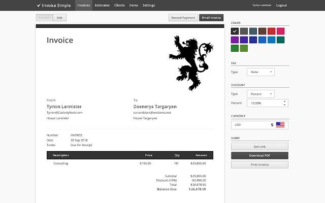 Invoice Simple Chrome Web Store - Invoice simple for desktop