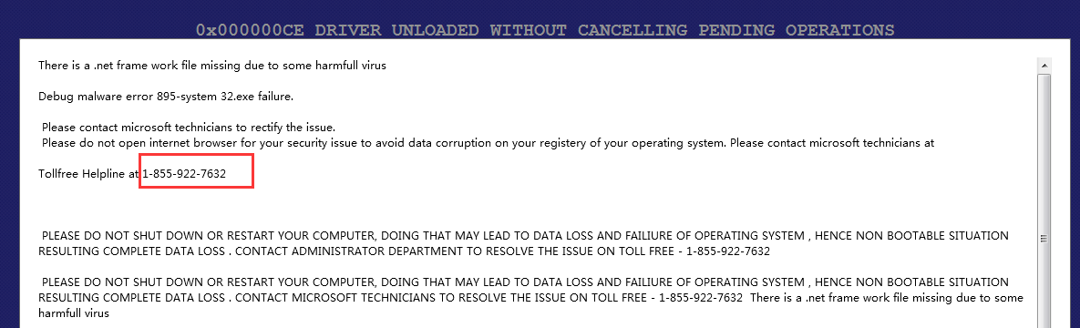 debug malware error 895-system32.exe failure alert