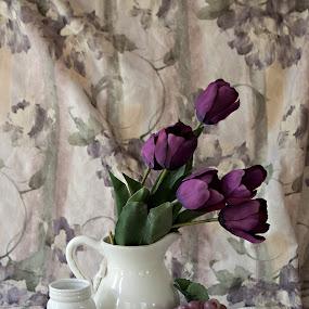 by Sherry Hallemeier - Uncategorized All Uncategorized ( vase, fruit, purple, art, glass jar, white,  )