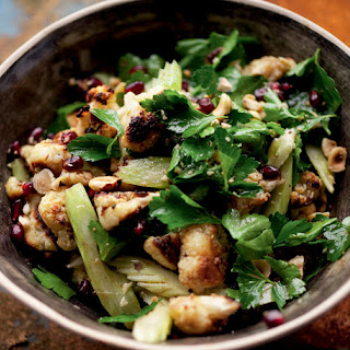 Roasted Cauliflower, Hazelnut and Pomegranate Seed Salad