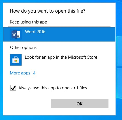 """The option for """"Always use this program to open.RTF files"""" can be selected to make that program the default reader."""