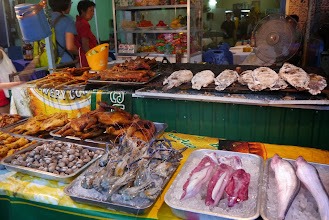 Photo: Choice of BBQ items for dinner at Vientiane