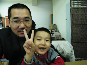 Photo: happy son and dad before dinner served in nearby restaurant when benzrad, the dad, visiting.