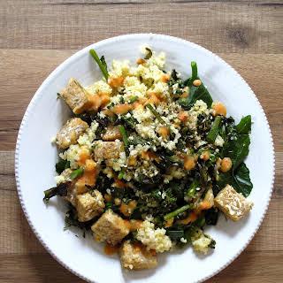 Sprouting Broccoli, Za'atar, Tempeh + Harissa Yogurt, serves 2.