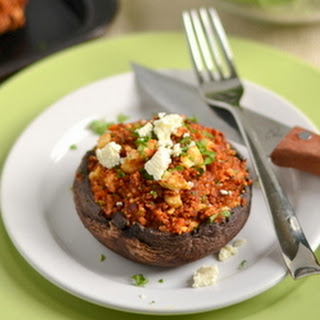 Roasted Red Pepper and Feta Quinoa Stuffed Portobellos