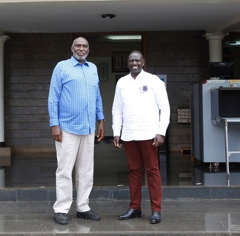 Deputy President William Ruto with East African Court of Justice Judge Charles Nyachae at his Karen, Nairobi.
