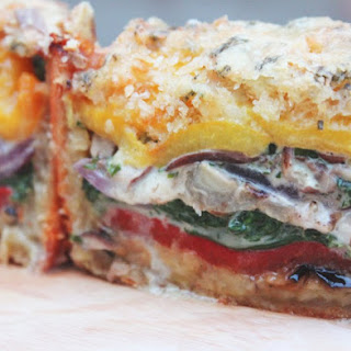 Cheesy Layered Roasted Vegetable Pie