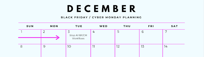 Black Friday Planning Calendar December