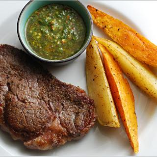 Pan Seared Steaks with Chimichurri Sauce