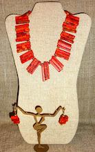 Photo: <BEREHYNYA> {Great Goddess Protectress} unique one-of-a-kind statement jewellery by Luba Bilash ART & ADORNMENT  # 132MAYAN SUN ~ СОНЦЕ МАЙЯН - coral, gold vermeil, 14K gold vermeil $150/set SOLD