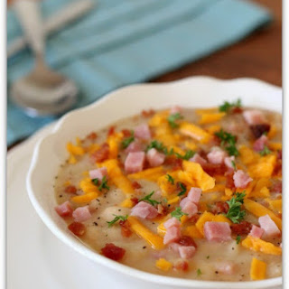 Slow Cooker White Bean Soup with Ham, Bacon and Cheddar (naturally gluten free)