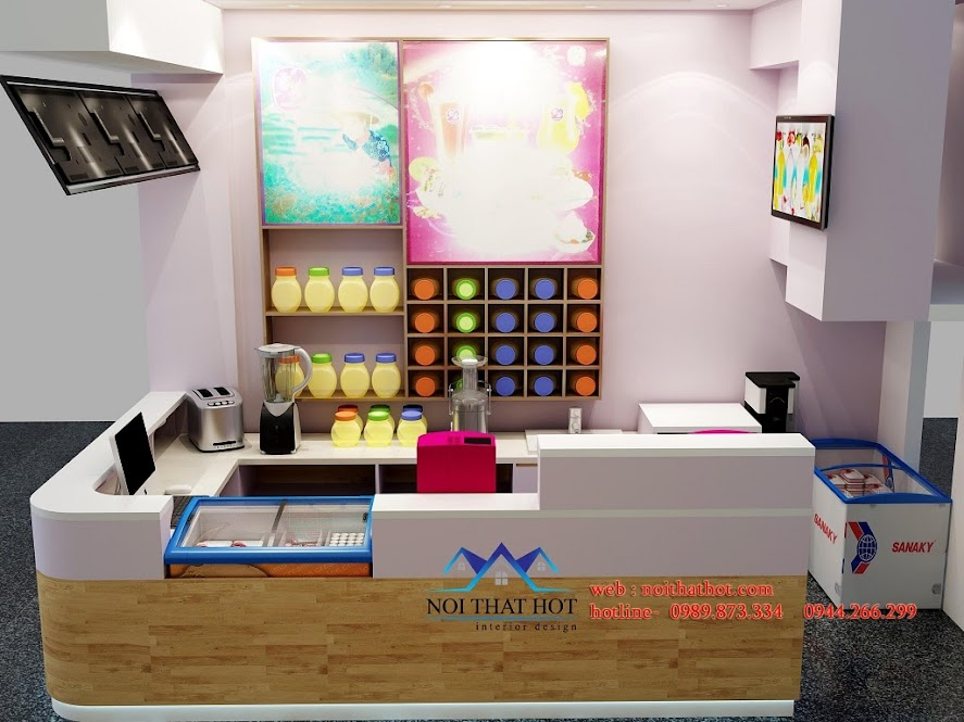 thiết kế quán trà sữa 53 Quốc Hoàn