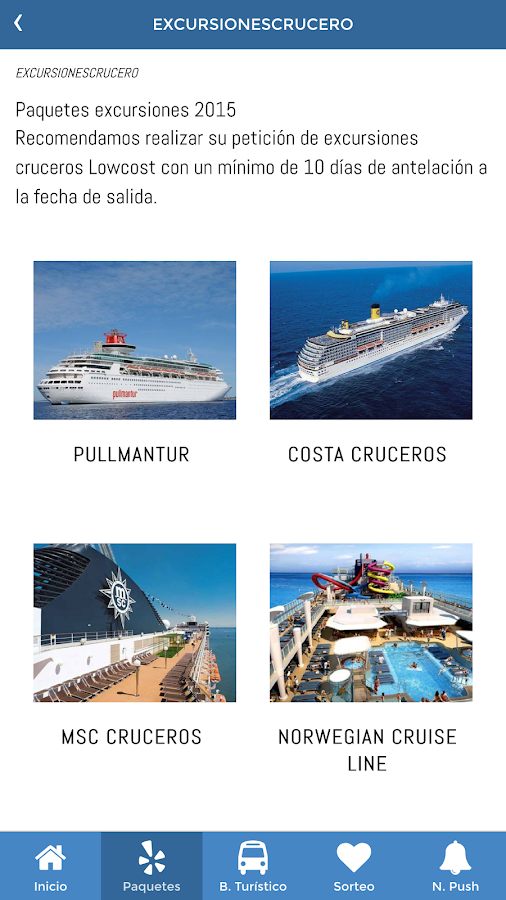 Excursiones Cruceros: captura de pantalla