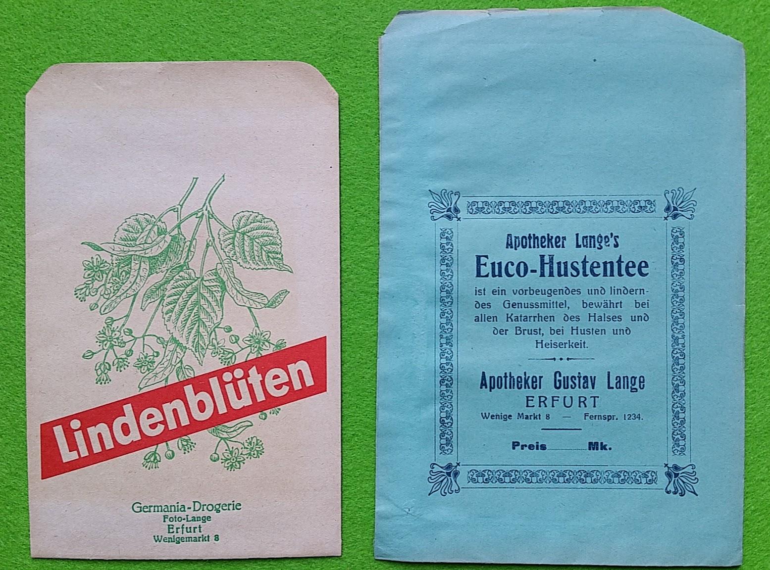 Papiertüten aus der Drogerie und Apotheke - Lindenblüten und Hustentee