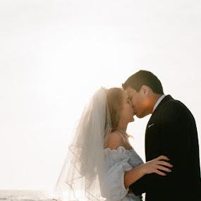 Sunset Kiss by Autumn Wright - Wedding Bride & Groom ( couple, florida, beach, wedding, kiss )