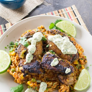 Baked Chicken Thighs with Roasted Poblano-Cream Sauce