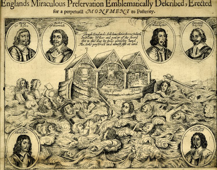 Illustration of Noah's Ark with prominent parliamentary figures in portraits and royalist forces drowning in the flood.
